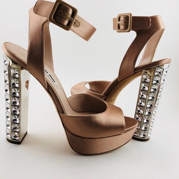 f48fa635d6f2 ... Miu Crystal Heel Ankle Wrap Heels. M 5ac8bdc105f4307ee570bbed